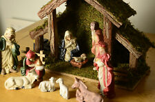 11 Piece Musical Porcelain Nativity Scene With Wooden Stable