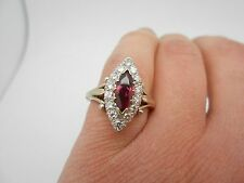Antique Vintage 18k 18ct White Gold 1.60ctw Gorgeous Natural Ruby & Diamond Ring