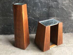 Mid Century Pair Of Danish Modern Pedestal Teak Wood Stand Table Cube Column