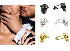 Gemelli Da Uomo in Argento Oro Rosa Nero Bianco Teschio Matrimonio Design