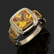 Jewelry Solitaire Yellow Topaz 18K Gold Filled Size 9 Engagement Rings For Men