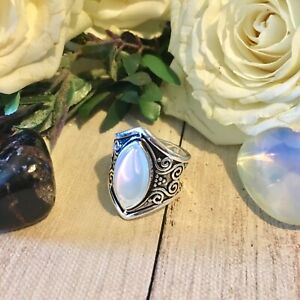 SALE 925 Silver Moonstone ring Celtic statement unusual Wiccan size O love gift