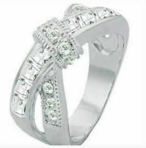 Ladies Silver Plated Cocktail Ring Knot Cubic Zirconia Sizes 9 10 Fashion Jewel