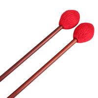 Red Yarn Head  Medium Marimba Mallets Medium Hard with Maple Handle