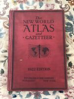 The New World Atlas and Gazetteer 1922 Edition Collier Vintage Book Maps