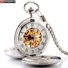 Antique Smooth Skeleton Mechanical Pocket Watch Double Hunter Pendant Silver UK