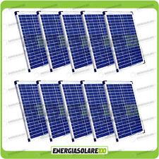 Set 10 Pannelli Solari Fotovoltaici 20W 12V multiuso Pmax 200W Baita Barca