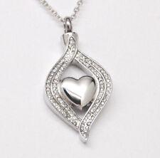 CZ Border Heart Urn Necklace, Alternative April Birthstone