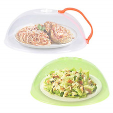 2 Pack Microwave Plate Cover Anti-Splatter Plate Lid with Steam Vents & Handle