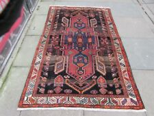 Vintage Traditional Hand Made Oriental Blue Pink Red Wool Large Rug 198x125cm