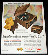 """1946 OLD MAGAZINE PRINT AD, NEW RCA TABLE VICTROLA WITH THE """"GOLDEN THROAT"""" ART!"""