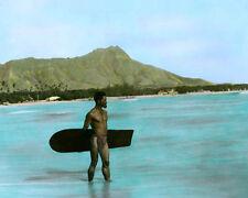 "HAWAIIAN ALAIA BOARD SURFER DIAMOND HEAD WAIKIKI 8x10"" HAND COLOR TINTED PHOTO"