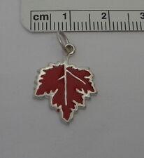 Sterling Silver 20x16mm Canadian Red Enamel Maple Leaf Charm
