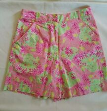 Lilly Pulitzer Shorts Womens 8 Pink Lime Green Floral Happy Mouse Pockets