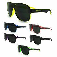 Kush Marijuana Pot Logo Sports Racer Plastic Frame Retro Aviator Sunglasses