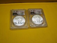 2012 30th Anniversary Silver China Panda 10 Yuan PCGS MS69 & MS 70 SET of 2