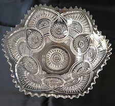 """EAPG Clear Pressed US Glass Rising Sun Bowl Sawtooth Scalloped Star Antique 10"""""""