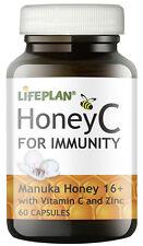 Lifeplan HoneyC Manuka Honey caps 16+ 250mg with Vitamin C and Zinc - 60 caps