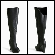 NIB Torrid Over The Knee Wedge Boots Wide Width & Wide Calf Black Size 9W