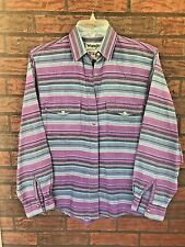 Vintage Wrangler Long Sleeve Shirt Purple Blue Stripes Authentic Western Apparel