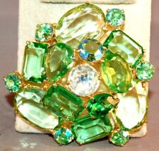 RARE Schiaparelli Poured Glass Light Green/AB Rhinestone Rose Huge Brooch! Book!