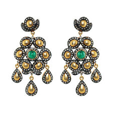 Emerald Pave Diamond 14K Gold .925 Sterling Silver Chandelier Earring Jewelry