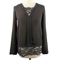 Zara Size XS 8 10 Black Long Sleeve Lace V Neck Top Party