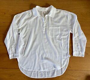 Sundry Women's Basic Classic Semi Sheer Cotton Tunic Blouse Shirt White Top SZ 2