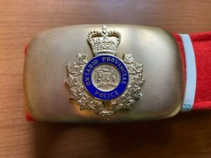 Obsolete Ontario Provincial Police Red Dress belt and Buckle OPP O.P.P.