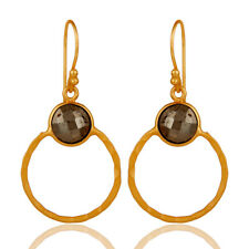 Pyrite Gemstone 925 Sterling Silver Circle Dangle Womens Earrings Jewelry
