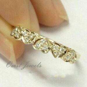 Fashion 14K Gold White Sapphire Wedding Engagement Heart Ring Women Jewelry Sz10