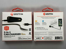 GRIFFIN 2in-1 Car Charger 12W 2.4A 3' With lightening connector for Apple iPhone