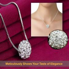 Crystal Pave Cute Ball Pendant 925 Sterling Silver Plated Chain Wedding Necklace