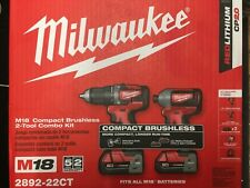 "MILWAUKEE 2892-22CT M18 18V 2-Tool Combo Kit - 1/2"" Compact Drill & 1/4"" Hex"