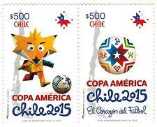 Chile 2015 # 2546-47 Copa America Chile soccer cup MNH