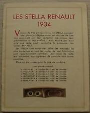 RENAULT LES STELLA Sales Brochure 1934 FRENCH NERVASPORT Nervastella REINASPORT