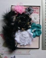 TEAL PINK BLACK & WHITE Fabric 6 Flower + Feather Pk 25-55mm Njoyfull Crafts G2