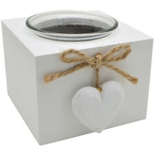 White Distressed Vintage Provence HEART Single Tea Light Holder