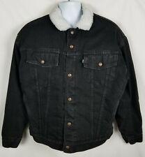 Levi's Authentic Denim Jacket Mens XL Sherpa Lining Cotton Polyester Black USA