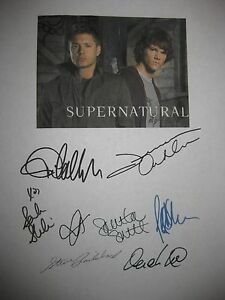 Supernatural Signed TV Script X8 Jared Padalecki Jensen Ackles Sarah Shahi repnt