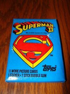1980 Topps Superman II  Unopen Wax Pack 11 Movie Photo Cards 1 Sticker Gum