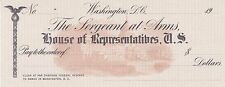 US - The Sergeant at Arms, House of Representatives, Washington DC, check/cheque