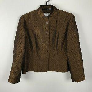 Coldwater Creek Blazer Size PL Bronze Metallic Textured Long Sleeve Button Up