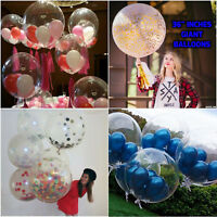 Super Clear Confetti Supported Balloons Latex Helium Quality Party Decoration UK