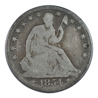 1854 Seated Liberty Half Dollar Arrows Very Good Condition
