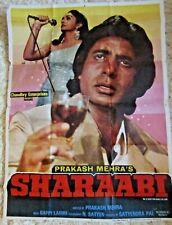 "1984 Large Bollywood Film Poster Sharaabi Original 39x29""  fc73"