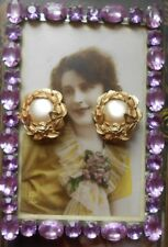 Boucles clips anciennes Couture 1960 plaqué or perle