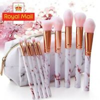 BRAND NEW UK Rose Marble Colour Makeup Cosmetic Face Eyes Powder 10 PCS Brushes