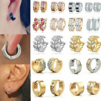 Stainless Steel Circle Beads Huggie Hoop Earrings Jewelry For Men Women Unisex