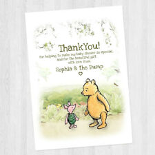 10 PERSONALISED BABY SHOWER BIRTHDAY PARTY WINNIE THE POOH THANK YOU CARDS